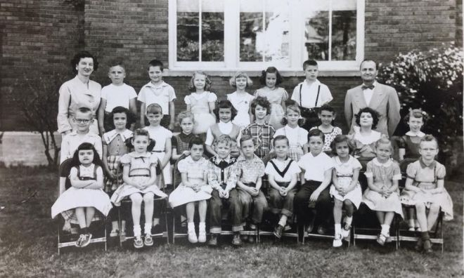 peggy-garner-mcclelland-lost-muncie-october-15-2015-2nd-grade-photo-1954-55-mrs-heller-and-mr-zedekar-second-from-left-in-front-row-stockton-then-1