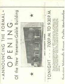 Announcement for the Formal opening of the Veneman-Gable Buidling at 1609-1611 University Avenue